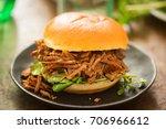 sweet bun barbecue beef brisket ...   Shutterstock . vector #706966612