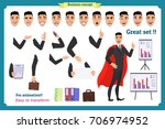 set of super businessman... | Shutterstock .eps vector #706974952
