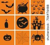 halloween symbols | Shutterstock . vector #706976488