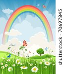 summer sunny day with rainbow | Shutterstock .eps vector #70697845