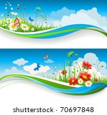 two  summer natural banners... | Shutterstock .eps vector #70697848