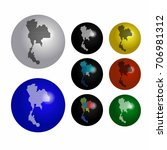 thailand icons on earth globe... | Shutterstock .eps vector #706981312