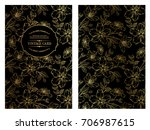 vintage card design with gold... | Shutterstock .eps vector #706987615