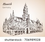 neues rathaus   new rathaus.... | Shutterstock .eps vector #706989028