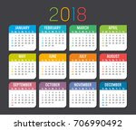 colorful year 2018 calendar... | Shutterstock .eps vector #706990492