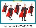 set of super businessman... | Shutterstock .eps vector #706995172