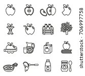 apple icon set. line style... | Shutterstock .eps vector #706997758