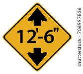 us road warning sign  low... | Shutterstock .eps vector #706997836