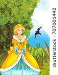 cartoon fairy tale scene with a ... | Shutterstock . vector #707001442
