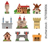 medieval historical buildings... | Shutterstock .eps vector #707008006