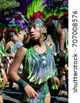 London, United Kingdom - August 27th, 2017. Notting Hill Carnival located in West London is now one of the largest street parties in Europe and is now in its 51st year.  - stock photo