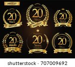 anniversary golden laurel... | Shutterstock .eps vector #707009692