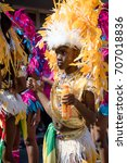 London, United Kingdom - August 27th, 2017. Notting Hill Carnival in West London is one of the largest street parties in Europe and it is now in its 51st year. - stock photo