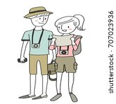 cute couple of tourists... | Shutterstock .eps vector #707023936