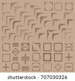 big set. vector frame and... | Shutterstock .eps vector #707030326