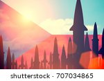 rockets silhouettes background... | Shutterstock . vector #707034865