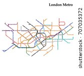 map of the london metro  subway ... | Shutterstock .eps vector #707035372