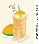 bubble tea mango vector | Shutterstock .eps vector #707035576