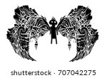 black man with wings. the black ... | Shutterstock .eps vector #707042275