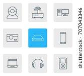 vector illustration of 9 gadget ... | Shutterstock .eps vector #707043346