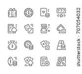 Set Line Icons Of Gambling...