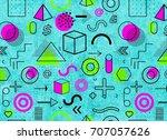 geometric memphis pattern for...   Shutterstock . vector #707057626