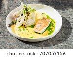 fine dining  white fish fillet... | Shutterstock . vector #707059156
