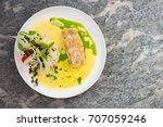 fine dining  white fish fillet... | Shutterstock . vector #707059246