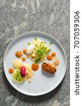 fine dining dessert  apricot... | Shutterstock . vector #707059306