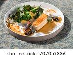 plated freshly grilled pork... | Shutterstock . vector #707059336