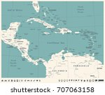 central america map   vintage... | Shutterstock .eps vector #707063158