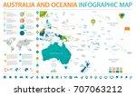 australia and oceania map  ... | Shutterstock .eps vector #707063212