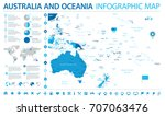 australia and oceania map  ... | Shutterstock .eps vector #707063476