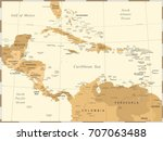 central america map   vintage... | Shutterstock .eps vector #707063488