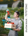 Small photo of Young agronomist with box tomato