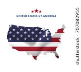 usa map with waving flag.... | Shutterstock .eps vector #707082955