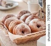 doughnut store counter  donuts... | Shutterstock . vector #707083975