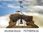 stork feeding two baby storks... | Shutterstock . vector #707085616