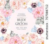 vintage wedding invitation | Shutterstock .eps vector #707088712