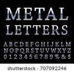vector set of silver alphabet... | Shutterstock .eps vector #707092246