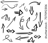 set of hand drawn arrows... | Shutterstock . vector #707092306