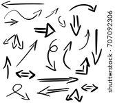 set of hand drawn arrows... | Shutterstock . vector #707092306