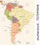 South America Map   Vintage...