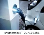 electrical car charging on a... | Shutterstock . vector #707119258