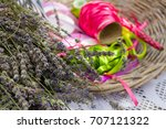 ribbons and cutted lavender... | Shutterstock . vector #707121322