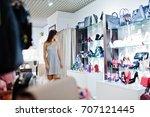 portrait of a woman in grey... | Shutterstock . vector #707121445