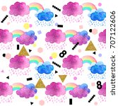 cute watercolor clouds with...   Shutterstock . vector #707122606
