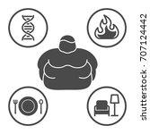 causes of obesity  vector line...   Shutterstock .eps vector #707124442