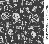 rock'n'roll elements grunge... | Shutterstock .eps vector #707130982