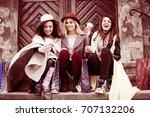 three best friends enjoying... | Shutterstock . vector #707132206